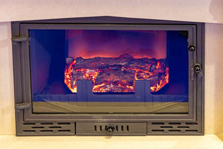 Electric Fireplace With Ceramic Wood Logs Fire Effects Standard-Bild