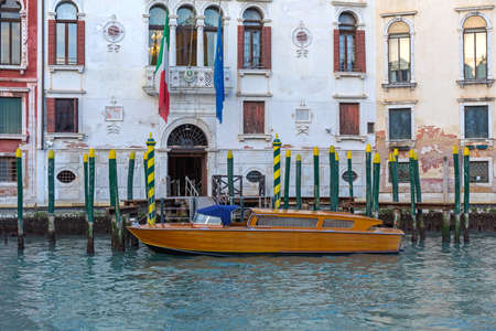 Taxi Boat Parked at Grand Canal in Venice