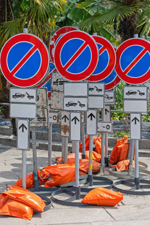 No Parking Traffic Signs Secured With Sand Bags