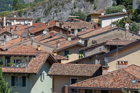 Traditional Roofs at Houses in Nago Torbole Italy