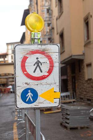 Traffic Sign Pedestrians Diversion Road Works in City