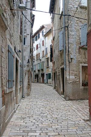 Mediterranean Cobblestones Street in Charming Town Rovinj Croatia