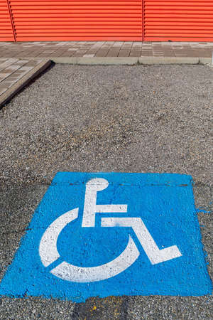 Blue Sign Disabled Handicap Wheelchair User Parking Stock Photo