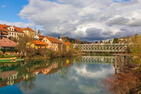 Bridge Over Krka River in Novo Mesto Slovenia Reklamní fotografie