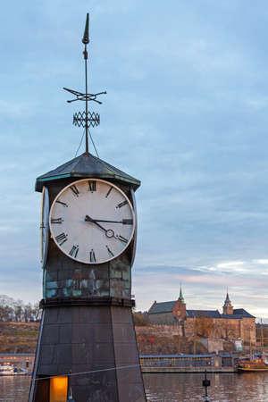 Aker Brygge Clock Tower in Oslo Norway Stock fotó
