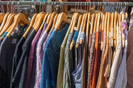 Linen and Cotton Clothing at Hangers Street Market Banque d'images
