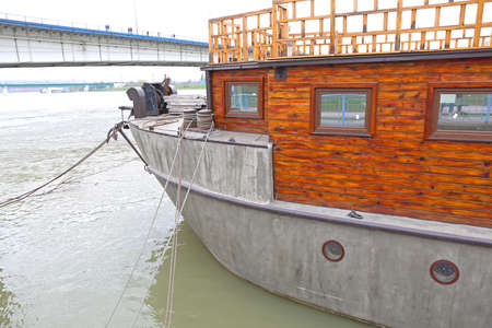 Big Boat Made From Concrete Floating at River