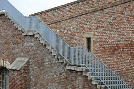 Long External Staircase at Side of Brick Building