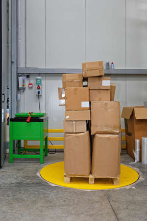 Pallet With Boxes at Wrapping Machine in Warehouse