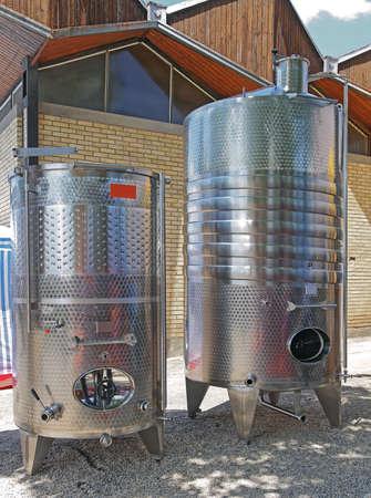 Two Big Stainless Steel Vinificator Tank Silos 版權商用圖片