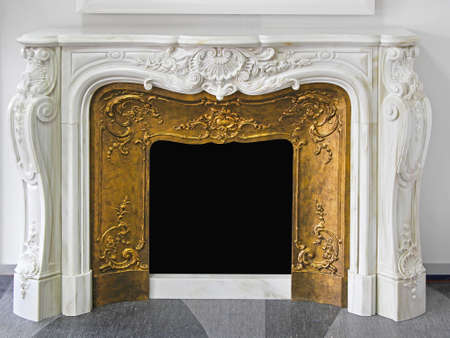 Rustic Style Fireplace in White Marble With Gold Frame