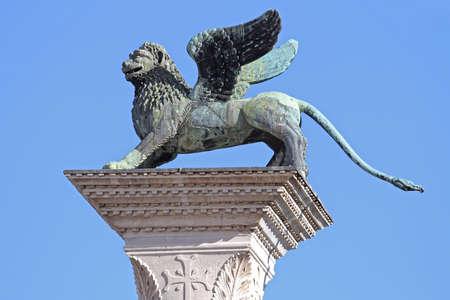 Column of San Marco Winged Lion Symbol Landmark in Venice Italy