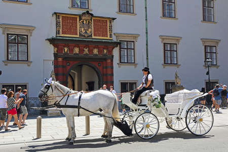 Vienna, Austria - July 11, 2015: White Horse Drawn Carriage Waiting in Front of Hofburg Imperial Palace in Vienna, Austria.