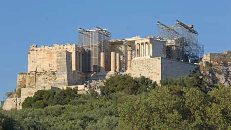 Athens, Greece - May 04, 2015: Construction Site of Acropolis Ancient Ruins UNESCO World Heritage Site in Athens, Greece. Editoriali