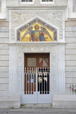 Trieste, Italy - October 14, 2014: Serbian Orthodox Parish Church of Saint Spyridion Thaumaturge at Genoa Street in Trieste, Italy.