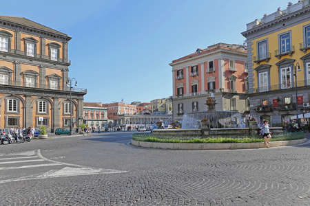 Naples, Italy - June 22, 2014: Artichoke Fountain at Piazza Trieste e Trento Without Traffic Historic Center in Naples, Italy. Editöryel