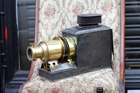 Antique Magic Lantern Projector Lens Device at Flea Market Archivio Fotografico