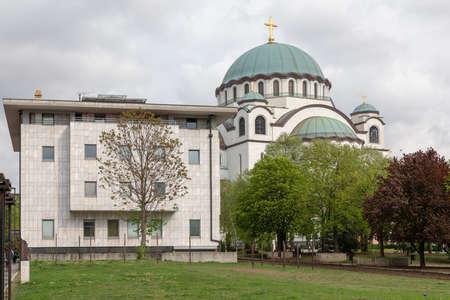 Televison Hram and Saint Sava Church in Belgrade Foto de archivo