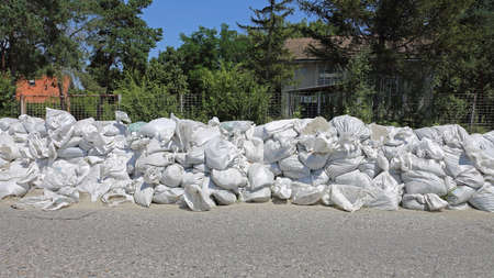 Big Stack of Sand Bags Floods Protection