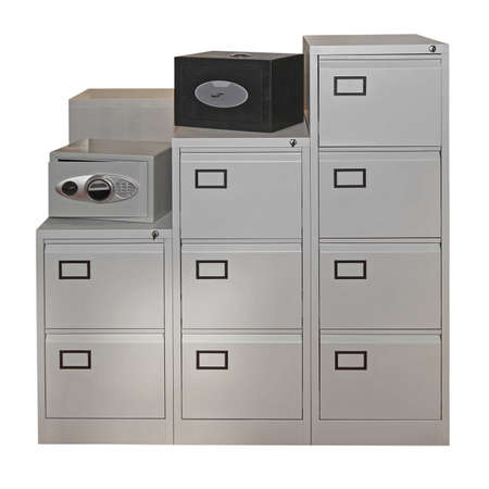 Safe Deposit Box and File Document Drawers Cabinet Stock Photo