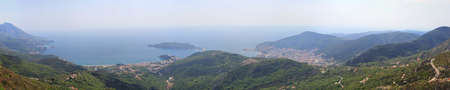 Long Panorama of Budva and Becici in Montenegro