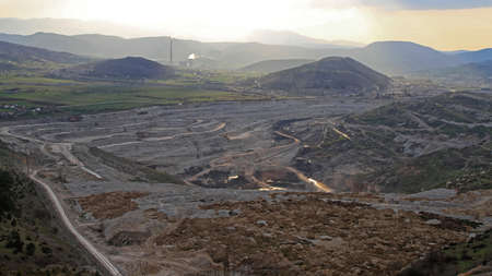 Open Pit Coal Mine Excavation Site in Pljevlja Montenegro