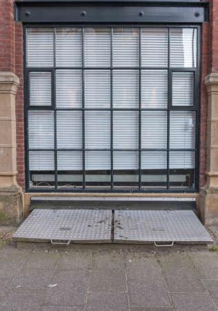 Big Glass Wall Window With Aluminium Blinds Stock Photo