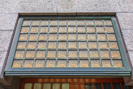 Yellow Glass Cubes Window at Building Exterior