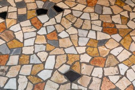 Colourful Broken Marble Pieces Floor Background