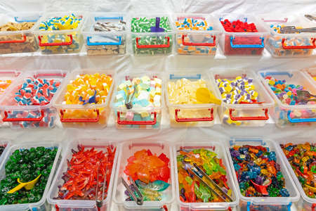 Many Gummy Candies Flavours in Bulk Boxes Variety Imagens
