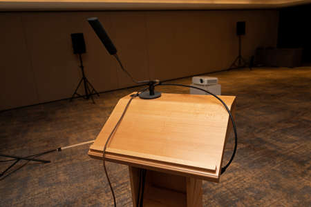 Empty Wooden Speaker Podium in Conference Hall Reklamní fotografie