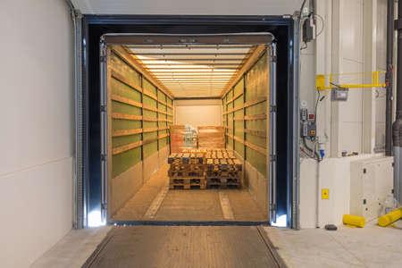 Truck Trailer Interior With Cargo Pallets Dock