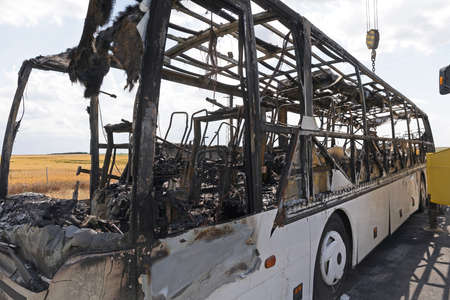 Burned Coach Bus Vehicle at Highway Accident