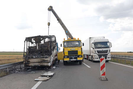 Burned Coach Bus Highway Recovery Assistance