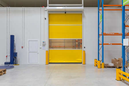 Automatic Roll Door in Cold Warehouse Building Interior