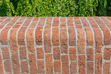 Rounded Orange Bricks Wall Architecture Exterior Stock Photo