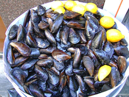 Big Bunch of Blue Mussels Seafood With Lemon Imagens