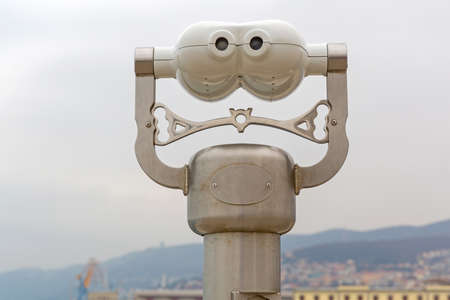 Coin Operated Binoculars Viewer in Trieste Italy Banque d'images