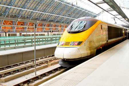 Fast train locomotive at St.Pancras London platform