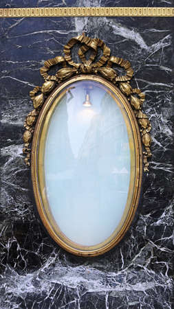 Oval Brass Frame With Black Marble Stone