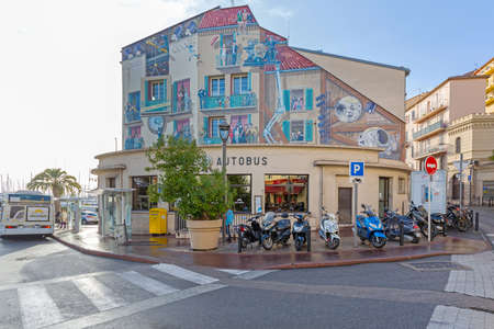 Cannes, France - February 1, 2016: Big Movie Mural at Gare Autobus Bus Station Wall in Cannes, France. Éditoriale