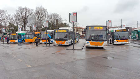 Vence, Italy - February 3, 2018: Parked Buses at Station Platform Winter in Vence, Italy.