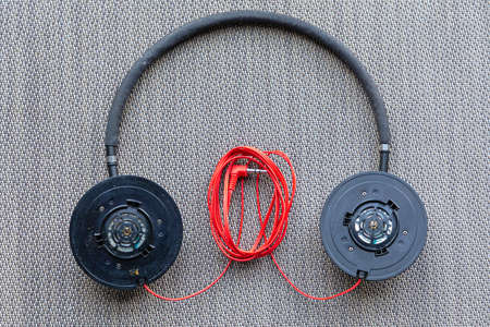 Old Used Headphones Without Earpieces Cushion Protection
