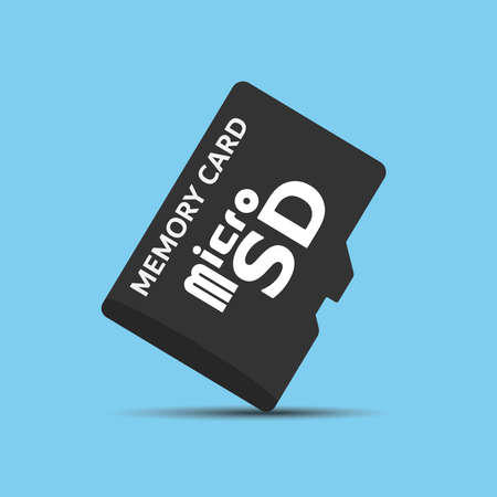 Memory  Micro SD card vector on blue background