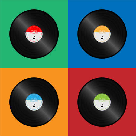 Vinyl record disc retro style set colors isolated vector