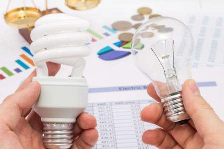 텅스텐 및 형광 램프 에너지 절약과 비용의 개념 사이의 선택
