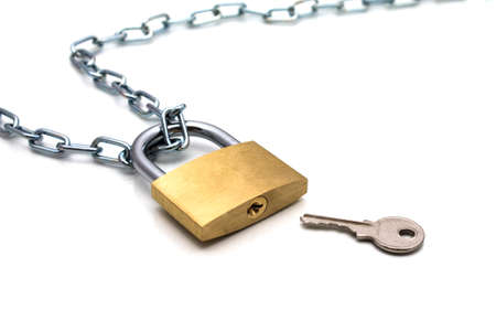 chainlet: Lock chain and key on white background