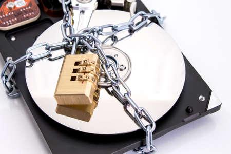 Hard drive disk and combination lock padlock photo