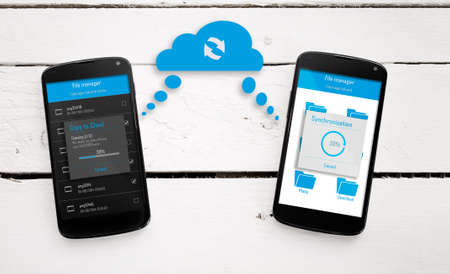 sync: Two mobile phone sync through the cloud.