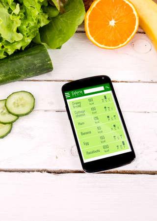 스마트 폰의 칼로리를 계산합니다. 건강을위한 응용 프로그램의 개념